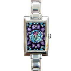Cathedral Rosette Stained Glass Rectangle Italian Charm Watch by Samandel