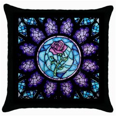 Cathedral Rosette Stained Glass Throw Pillow Case (black) by Samandel