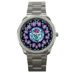 Cathedral Rosette Stained Glass Sport Metal Watch by Samandel