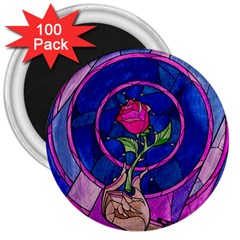 Enchanted Rose Stained Glass 3  Magnets (100 Pack) by Samandel