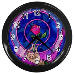 Enchanted Rose Stained Glass Wall Clocks (black) by Samandel