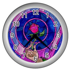 Enchanted Rose Stained Glass Wall Clocks (silver)  by Samandel