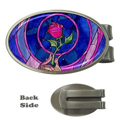 Enchanted Rose Stained Glass Money Clips (oval)  by Samandel
