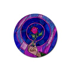 Enchanted Rose Stained Glass Rubber Coaster (round)  by Samandel