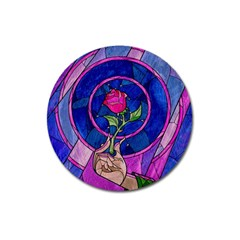 Enchanted Rose Stained Glass Magnet 3  (round) by Samandel
