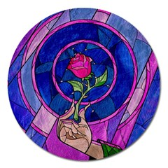 Enchanted Rose Stained Glass Magnet 5  (round) by Samandel