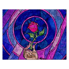 Enchanted Rose Stained Glass Rectangular Jigsaw Puzzl by Samandel