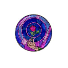 Enchanted Rose Stained Glass Hat Clip Ball Marker by Samandel