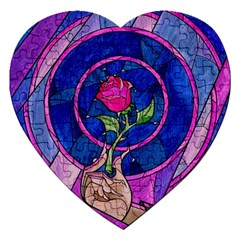 Enchanted Rose Stained Glass Jigsaw Puzzle (heart) by Samandel