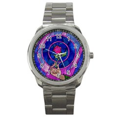 Enchanted Rose Stained Glass Sport Metal Watch by Samandel