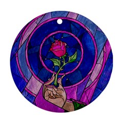 Enchanted Rose Stained Glass Round Ornament (two Sides) by Samandel