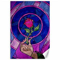 Enchanted Rose Stained Glass Canvas 12  X 18   by Samandel