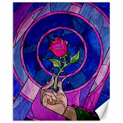 Enchanted Rose Stained Glass Canvas 16  X 20   by Samandel