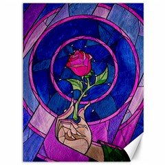 Enchanted Rose Stained Glass Canvas 36  X 48   by Samandel