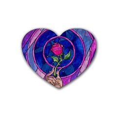 Enchanted Rose Stained Glass Rubber Coaster (heart)  by Samandel
