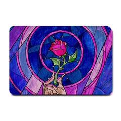 Enchanted Rose Stained Glass Small Doormat  by Samandel