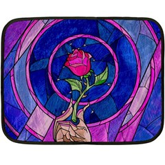 Enchanted Rose Stained Glass Double Sided Fleece Blanket (mini)  by Samandel