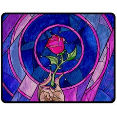 Enchanted Rose Stained Glass Fleece Blanket (medium)  by Samandel