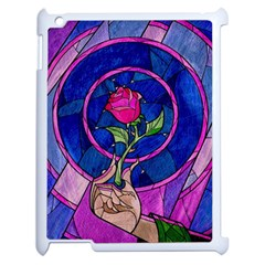 Enchanted Rose Stained Glass Apple Ipad 2 Case (white) by Samandel