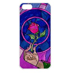 Enchanted Rose Stained Glass Apple Iphone 5 Seamless Case (white)
