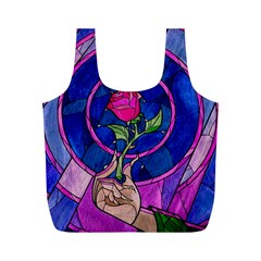 Enchanted Rose Stained Glass Full Print Recycle Bags (m)  by Samandel