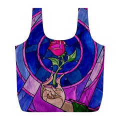 Enchanted Rose Stained Glass Full Print Recycle Bags (l)  by Samandel