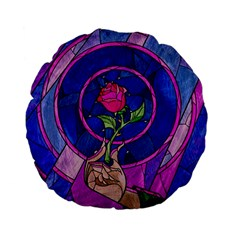 Enchanted Rose Stained Glass Standard 15  Premium Flano Round Cushions by Samandel