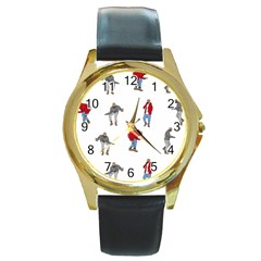 Drake Ugly Holiday Christmas Round Gold Metal Watch by Samandel