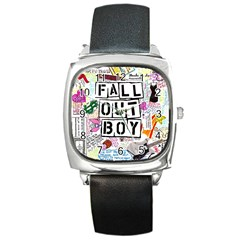 Fall Out Boy Lyric Art Square Metal Watch