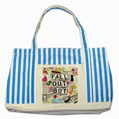 Fall Out Boy Lyric Art Striped Blue Tote Bag by Samandel