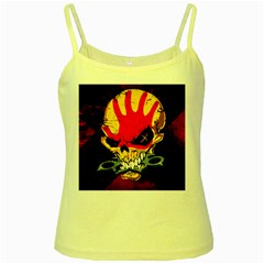 Five Finger Death Punch Heavy Metal Hard Rock Bands Skull Skulls Dark Yellow Spaghetti Tank