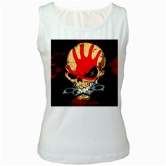Five Finger Death Punch Heavy Metal Hard Rock Bands Skull Skulls Dark Women s White Tank Top by Samandel