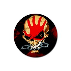 Five Finger Death Punch Heavy Metal Hard Rock Bands Skull Skulls Dark Rubber Coaster (round)