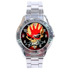 Five Finger Death Punch Heavy Metal Hard Rock Bands Skull Skulls Dark Stainless Steel Analogue Watch by Samandel