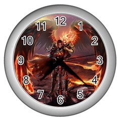 Fantasy Art Fire Heroes Heroes Of Might And Magic Heroes Of Might And Magic Vi Knights Magic Repost Wall Clocks (silver)  by Samandel