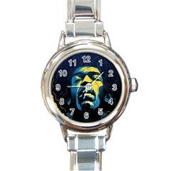 Gabz Jimi Hendrix Voodoo Child Poster Release From Dark Hall Mansion Round Italian Charm Watch by Samandel