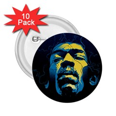 Gabz Jimi Hendrix Voodoo Child Poster Release From Dark Hall Mansion 2 25  Buttons (10 Pack)  by Samandel