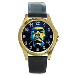 Gabz Jimi Hendrix Voodoo Child Poster Release From Dark Hall Mansion Round Gold Metal Watch by Samandel
