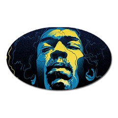 Gabz Jimi Hendrix Voodoo Child Poster Release From Dark Hall Mansion Oval Magnet by Samandel