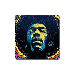 Gabz Jimi Hendrix Voodoo Child Poster Release From Dark Hall Mansion Square Magnet by Samandel
