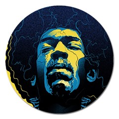 Gabz Jimi Hendrix Voodoo Child Poster Release From Dark Hall Mansion Magnet 5  (round) by Samandel