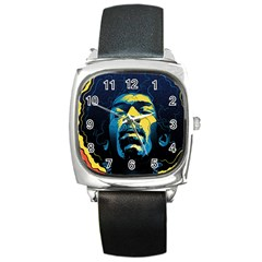 Gabz Jimi Hendrix Voodoo Child Poster Release From Dark Hall Mansion Square Metal Watch by Samandel