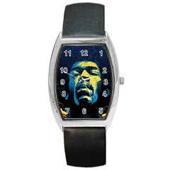 Gabz Jimi Hendrix Voodoo Child Poster Release From Dark Hall Mansion Barrel Style Metal Watch by Samandel