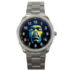 Gabz Jimi Hendrix Voodoo Child Poster Release From Dark Hall Mansion Sport Metal Watch by Samandel