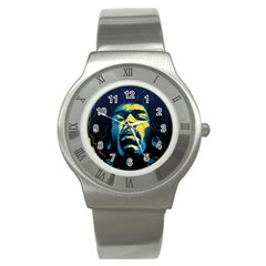 Gabz Jimi Hendrix Voodoo Child Poster Release From Dark Hall Mansion Stainless Steel Watch by Samandel