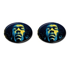 Gabz Jimi Hendrix Voodoo Child Poster Release From Dark Hall Mansion Cufflinks (oval) by Samandel