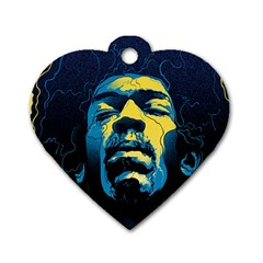 Gabz Jimi Hendrix Voodoo Child Poster Release From Dark Hall Mansion Dog Tag Heart (two Sides) by Samandel