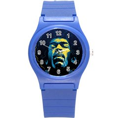 Gabz Jimi Hendrix Voodoo Child Poster Release From Dark Hall Mansion Round Plastic Sport Watch (s) by Samandel