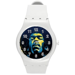 Gabz Jimi Hendrix Voodoo Child Poster Release From Dark Hall Mansion Round Plastic Sport Watch (m) by Samandel