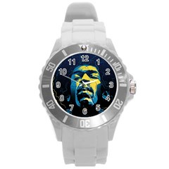 Gabz Jimi Hendrix Voodoo Child Poster Release From Dark Hall Mansion Round Plastic Sport Watch (l) by Samandel